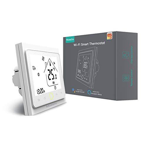 MoesGo termostato Smart WiFi programmabile con controllo della temperatura per impianti di riscaldamento ad acqua, compatibile con l'app Smart Life/Tuya, Alexa e Google Home.