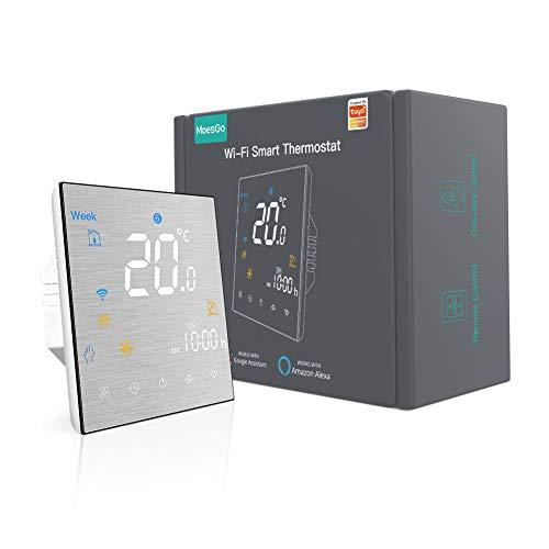 MoesGo Termostato Smart WiFi programmabile con controllo della temperatura per impianti con boiler/caldaia ad acqua o gas, compatibile con Alexa e Google Home
