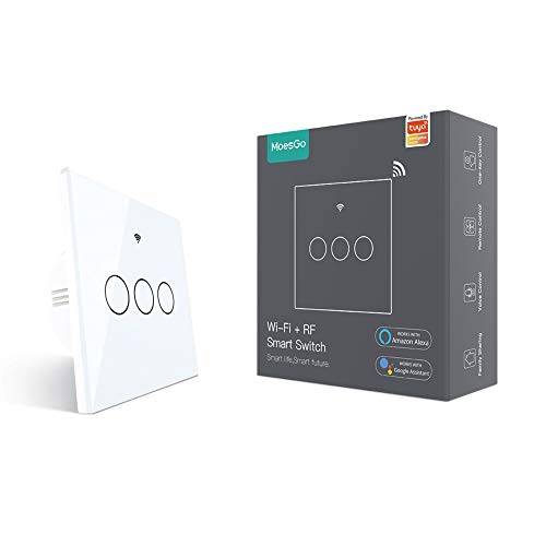 MoesGo WiFi Smart Touch Switch a parete con 1 via o Associazione multi-controllo (2 vie), Stato relè opzionale, Lavora con Smart Life/App Tuya, Telecomando RF433,Alexa e Google Home Bianco(3 Gang)