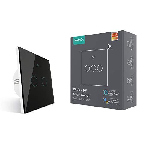 MoesGo WiFi Smart Touch Switch a parete con 1 via o Associazione multi-controllo (2 vie), Stato relè opzionale, Lavora con Smart Life/App Tuya, Telecomando RF433,Alexa e Google Home Nero (2 Gang)