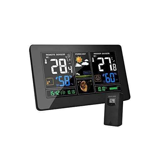 MOHOO Stazione Meteorologica Meteo Wireless Stazione Meteorologica con Sensore Esterno con Display a Colori Termometro Digitale Igrometro e Display del Tempo per l'home Office