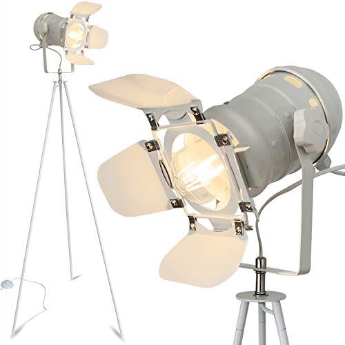 mojoliving - Lampada a stelo in metallo per il soggiorno, la camera da letto, decorazione Tripod Retro Studio Design Lampada da terra con treppiede (treppiede bianco paralume bianco)