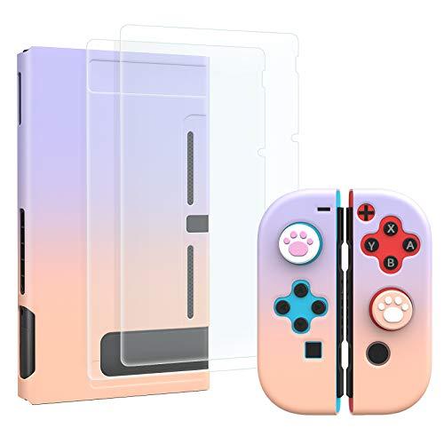MoKo 2 Proteggi Schermo Switch in Vetro Temprato, 2 Custodie Protettive, 4 Gommini Pulsanti Compatibile con Switch, Protezione Urti, Accessori per Console - Rosa Viola