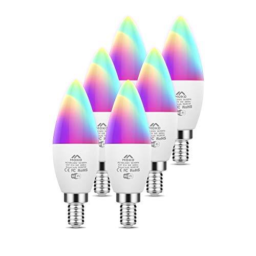 MoKo 6 PZ Lampadine LED Smart E14 5W Candela Intelligence WiFi, con Luce Dimmerabile Bianca Calda RGB, Funziona con SmartThings, Alexa Echo, Google Home, Controllo Vocale/Remoto dal App, Nessun Hub