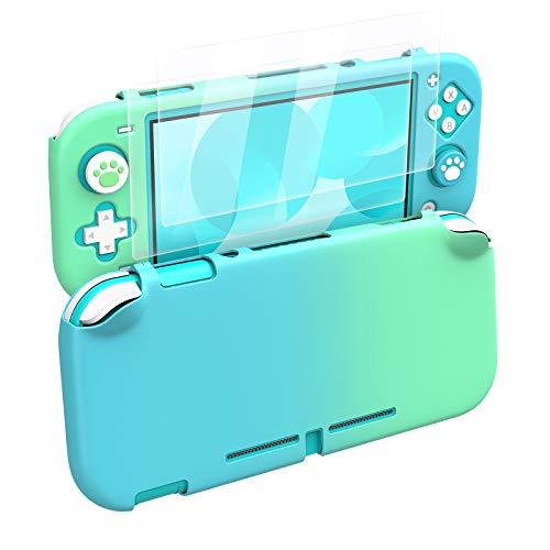 MoKo Custodia Protettiva, 2 Proteggi Schermo in Vetro Temprato, 4 Gommini Pulsanti Compatibile con Nintendo Switch Lite Resistenti Anti Sudore Urti, Accessori per Console Nintendo, Blu + Verde