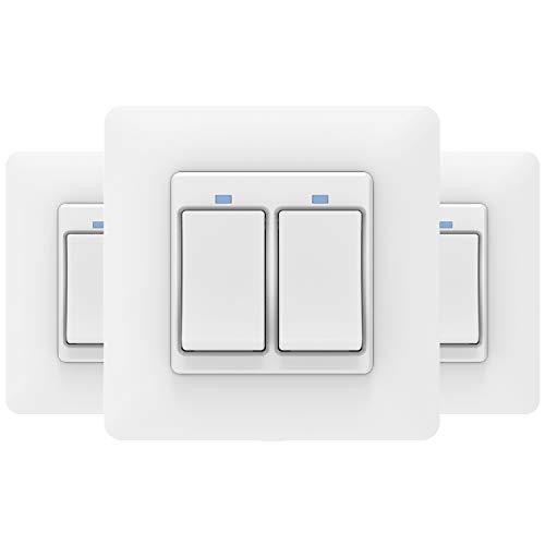 MoKo Interruttore WiFi Parete Smart Intelligente Switch, Interruttore Alexa della Luce 2 Gang, Funzione Timer, APP Controllo Remoto, Compatibile con SmartThings, Alexa Echo, Google Home - 3 Pezzi