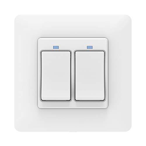 MoKo Interruttore WiFi Parete Smart Intelligente Switch, Interruttore Alexa della Luce 2 Gang, Funzione Timer, APP Controllo Remoto, Compatibile con SmartThings, Alexa Echo, Google Home