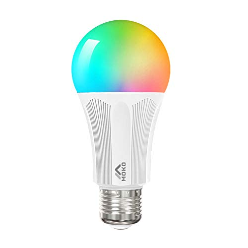 MoKo Lampadina E27 Intelligente Lampadine LED WiFi Controllo Remoto, Funzione Timer, 9W Colorate RGB Luce Calda Dimmerabile per SmartThings, Alexa Echo, Google Home, Controllo App Smart Life No Hub