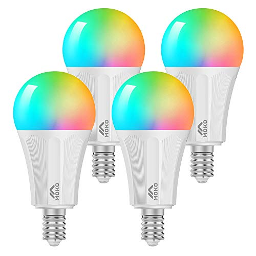 MoKo Lampadina LED E14 Colorate RGB, Intelligente Lampadine Controllo Remoto WiFi, 4 PZ 9W Luce Calda Dimmerabile, Lavora con SmartThings, Alexa Echo, Google Home per Controllo App Smart Life No Hub