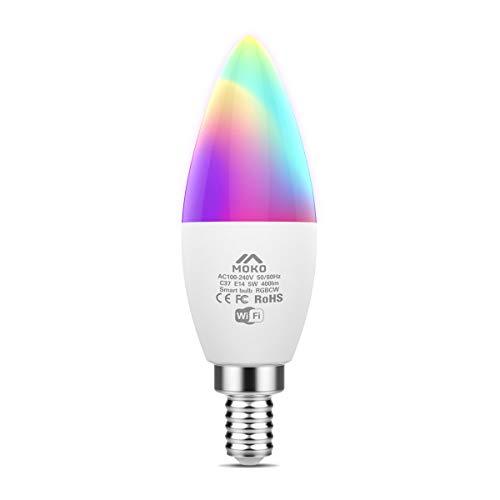MoKo Lampadine LED Smart E14 5W Candela Intelligence WiFi, con Luce Dimmerabile Bianca Calda RGB, Funziona con SmartThings, Alexa Echo, Google Home, Controllo Vocale/Remoto dal App, Nessun Hub