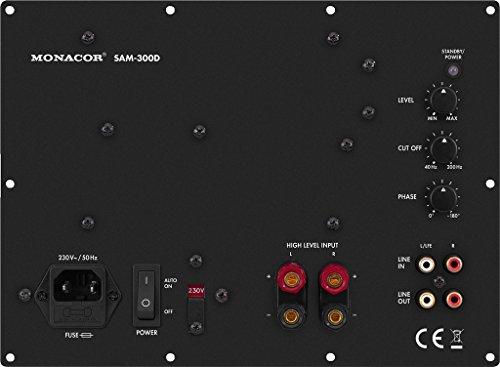 MONACOR SAM-300D, Moduli attivi di Subwoofer, per l'era digitale, nero, classe D