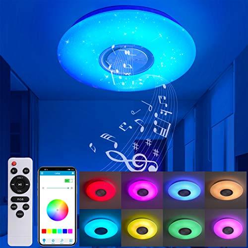 MOONSEA Plafoniera LED Soffitto 24W con Altoparlante Bluetooth, Dimmerabile RGB Lampada da Soffitto con telecomando e controllo APP, Plafoniere per Soggiorno, Camera dei Bambini