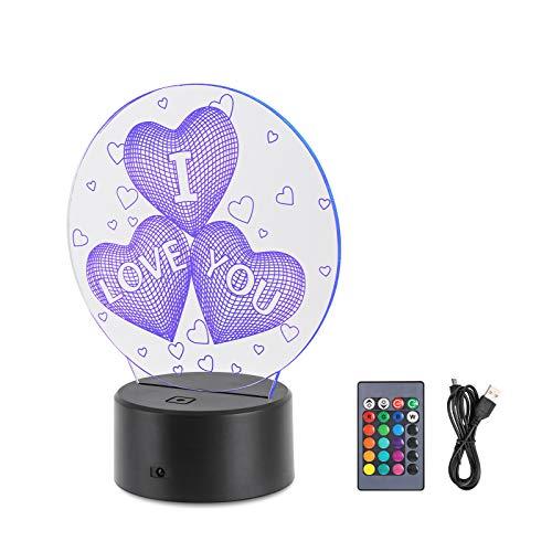 MOPOIN Lampade 3D Illusione Ottica Luce Notturna,Deco Lampada LED da Tavolo Illuminazione Luce di Notte 7 Colori Controllo Tattile Lampada Decorazione da Comodino con Cavo USB