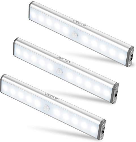 MOSTON Luce a LED Magnetica Ricaricabile con USB|10 LED,Sensore di Movimento,Automatica.Ideale per Armadi,Pensili,Dispense.Portatile,senza fili,senza batterie,si attacca ovunque Confezione da 3 …