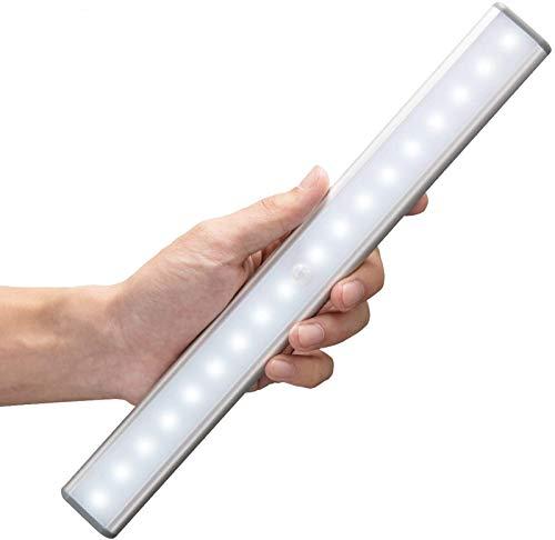 MOSTON Luce a LED Magnetica Ricaricabile con USB|18 LED,Sensore di Movimento,Automatica.Ideale per Armadi,Pensili,Dispense.Portatile,senza fili,senza batterie,si attacca ovunque Confezione,Argento …
