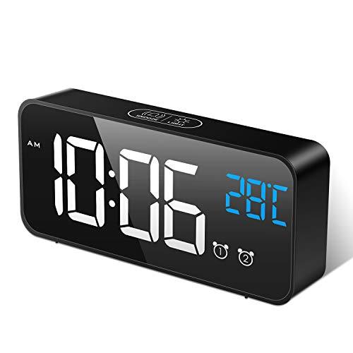 MOSUO Sveglia Digitale, Sveglia da Comodino con Temperatura e LED Grande Schermo, Orologio a Specchio con 2 Allarme, Snooze, Suoni e Luminosità Regolabile, Controllo Vocale, USB Ricaricare, Nero