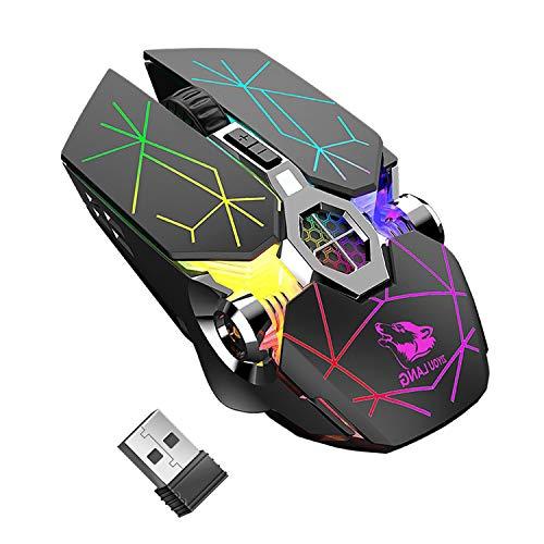 Mouse wireless da gioco, RGB, multicolore, ricaricabile, silenzioso, accessori per computer, per casa, ufficio, giochi a 7 pulsanti (nero)