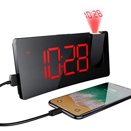 Mpow Sveglia con Proiettore, Sveglia Digitale con Adattatore e Porta USB, 5'' Grandi Schermo LED, 4 Luminosità di Proiezione Regolabile, Numeri Rossi Ultra Chiari, Facile da Usare, Snooze,12/24 Ore
