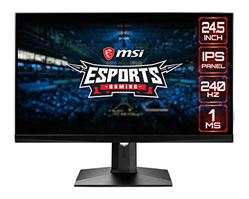 "MSI Optix MAG251RX Monitor Gaming Esport 24.5"", Display 16:9 FHD (1920x1080), Frequenza 240Hz, Tempo di risposta 1ms, Pannello IPS, AMD FreeSync, Nvidia G-Sync, HDR 400, Nero"
