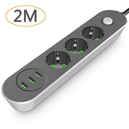 Multipresa Ciabatta Elettrica, Joyguard Multiprese 4 Prese Elettriche e 3 Prese USB Cavo da 2 Metri Multipla Protezione da Sovraccarico Ciabatta Multipresa (3 USB 3.4A )