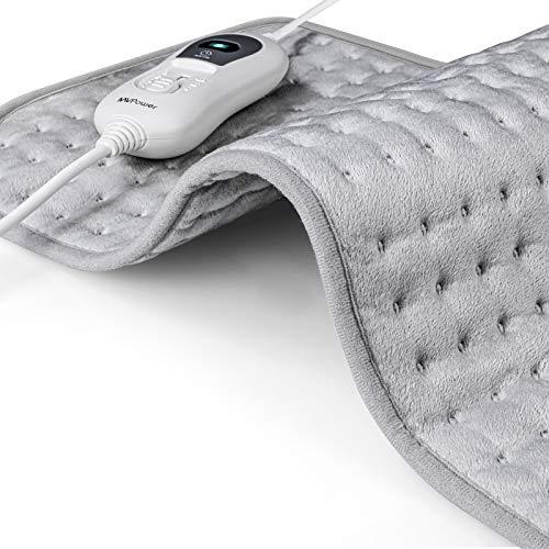 MVPOWER Cuscino Termico Elettrico, Termoforo Cervicale con Spegnimento Automatico, 60 x 30cm Lavabile per Schiena Collo Spalle Piedi Pad Termico con Riscaldamento Rapido a 3 Livelli di Temperatura