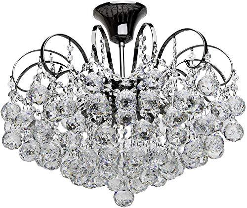 MW-Light 232016306 Lampadario da Soffitto affascinante Nichel Cristallo in Stile Moderno 6 x 60W E14