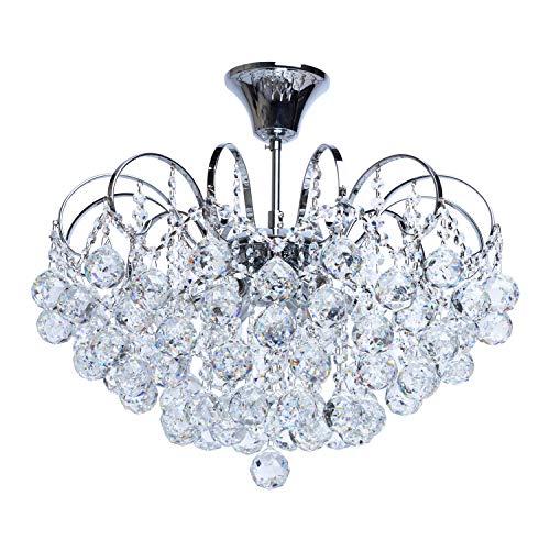 MW-Light 232017506 Lampadario da Soffitto Cromo Gocce Cristallo Decorativo Elegante 6 luci x 60W E14