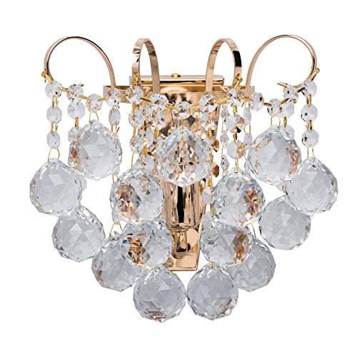 MW-Light 232028101 Applique da Parete Lussuosa Oro Francese Lucido Gocce di Cristalli in Stile Classico 1 luce x 60W E14