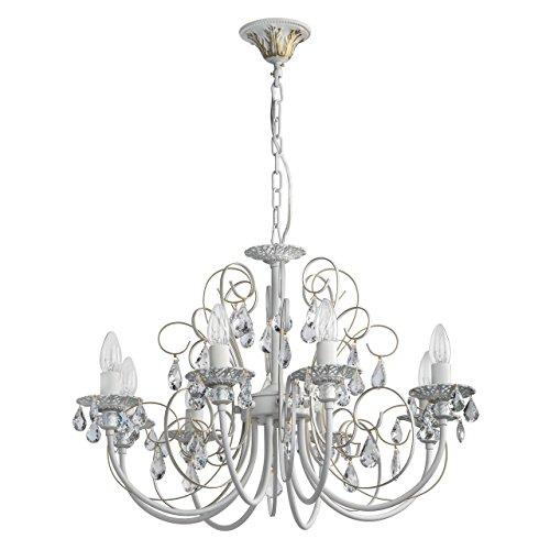 MW-Light 301015308 Lampadario da Soffitto Barocco di Metallo Colore Bianco Gocce Cristalli Trasparente in Stile Classico E14 8 luci x 60W