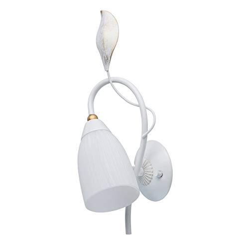 MW-Light 334023301 Applique da Parete in Metallo Colore Bianco Oro a Forma di Fiore 1 luce x 60W E14