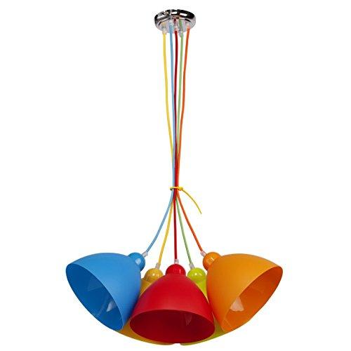 MW-Light 365014505 Lampada Sospensione Multicolore in Metallo Acrilico Ecologico Moderna in Cameretta Per Bambini 5 luci x 40W E27