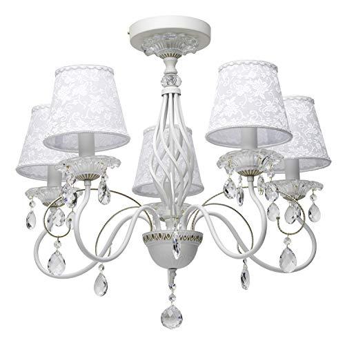 MW-Light 419010805 Lampadario da Soffitto in Metallo Colore Bianco con Pennellature Oro Elementi Decorativo Cristallo Paralume in Tessuto Stile Classico