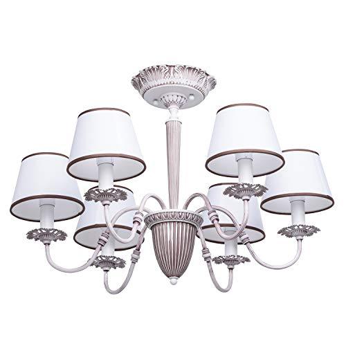 MW-Light 419011006 Lampadario Grande Moderno Classico in Metallo Bianco Opaco Paralume Tessuto Contemporaneo 6 luci