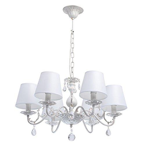 MW-Light 448012106 Lampadario da Soffitto Pendente in Metallo Colore Bianco Oro Paralume Tessile Cristallo Trasparente