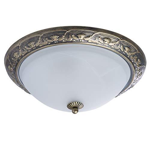 MW-Light 450015703 Plafoniera Classica Piccola Metallo Colore Ottone Anticato Vetro Opaco Bianco con Fascia Decorativa a Bordo E27 3 luci x 60W