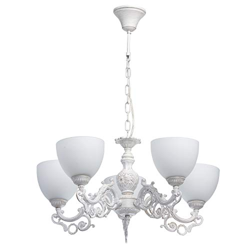 MW-Light 450016605 Lampadario Pendente in Metallo Colore Bianco Pennellature Oro in Stile Francese