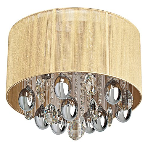 MW-Light 465011305 Lampadario da Soffitto Lussuoso Metallo Cromato Gocce Cristallo Paralume Tessuto Oro in Stile Barocco