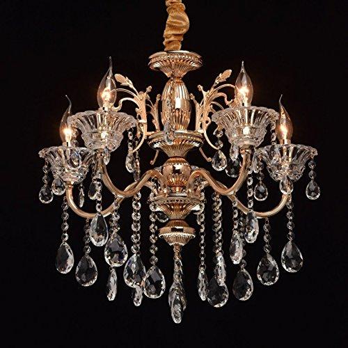 MW-Light 482013105 Lampadario da Soffitto Grazioso Colore Oro Francese Lucente Pendenti in Cristallo Stile Barocco 5 x 40W E14