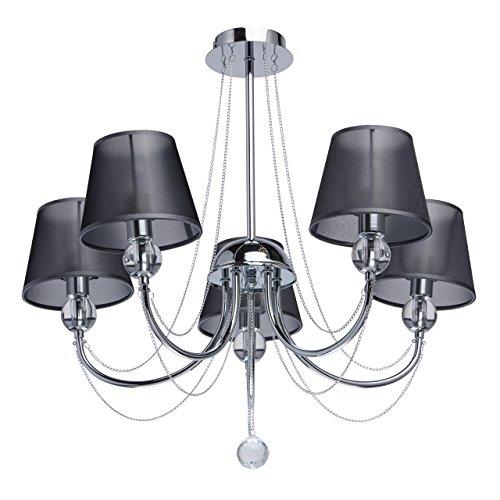 MW-Light 684010305 Lampadario da Soffitto Classico in Metallo Cromato Paralume Tessuto Nero Goccia Cristallo Stile 5 x 40W E14 Escl