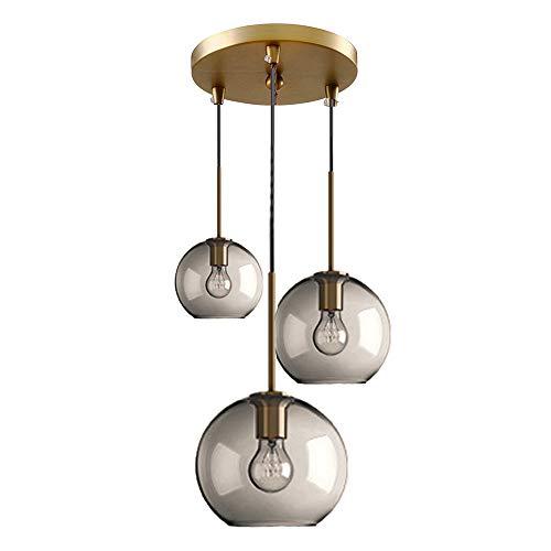 MZStech Lampada a sospensione a 3 luce sferica in vetro trasparente, Lampadario a sospensione Globe in vetro (Impostare tre, Grigio)