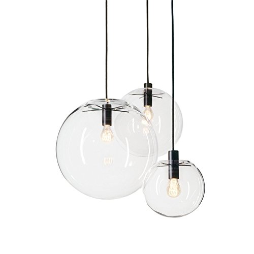 MZStech Lampada a Sospensione Classica in Vetro Classica sferica Lampada Singola in Vetro a Luce Singola Creativa, Base a Luce E27 (20CM)