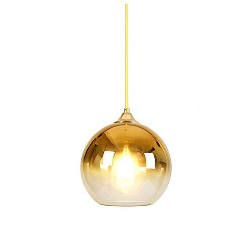 MZStech Lampada a Sospensione Sferica in Vetro Colore Sfumato Lampada Moderna Lampadario a Sospensione (Oro, 30cm)