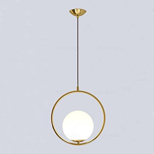 MZStech Lampada da soffitto moderna, lampada a sospensione sferica in ferro e vetro dorato, base a sospensione a lampadina E27 (Round)