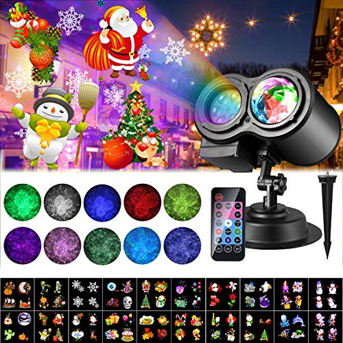 Natale Halloween Lampada per Proiettore LED, 20 Modelli ALED LIGHT Luce per Proiettore Impermeabile con Motivo a Onde d'Acqua con Telecomando Decorazione di illuminazione Festa Natale Interno Esterno