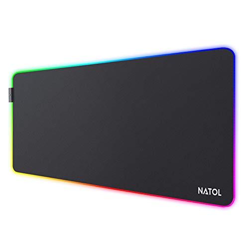 NATOL Tappetino Mouse Gaming RGB, Tappetino Mouse RGB Grandi con 12 Effetti Luminosi, Base in Gomma Antiscivolo, Superficie Liscia, Adatto a Tastiere e Mouse, Computer e Portatili, 800 x 300mm