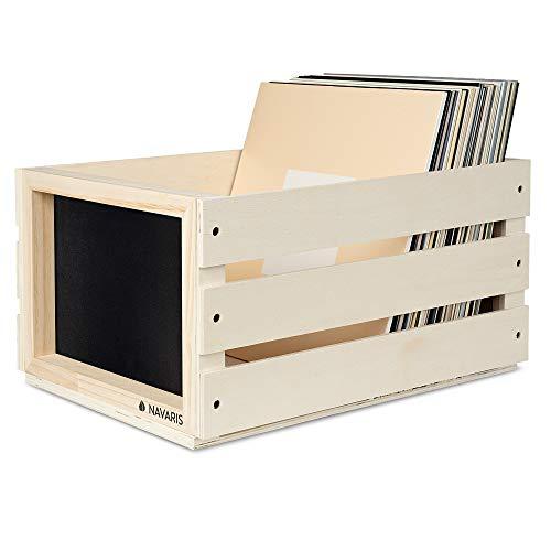 Navaris Cassetta Dischi Vinile in Legno - Cassa Porta Vinili 50-80 Dischi LP - Record Box 43.2x30.6x23cm da Montare - Cassettina con Lavagna - Beige