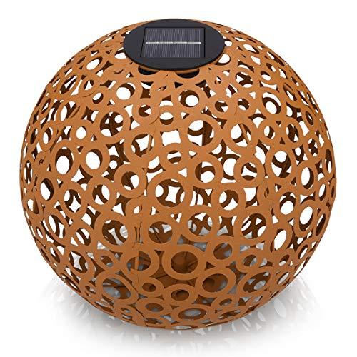 Navaris Lanterna Solare LED Esterno - Lampada da Giardino con Sensore Luminosità - Luce Decorativa Sfera Damascata Ø 30cm con Punta da Terra - Ruggine