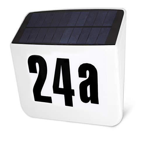 Navaris Numero Civico Illuminato con Pannello Solare e Porta USB - Targhetta Numeri Civici Luminosi - Indirizzo Postale LED con Batteria Ricaricabile