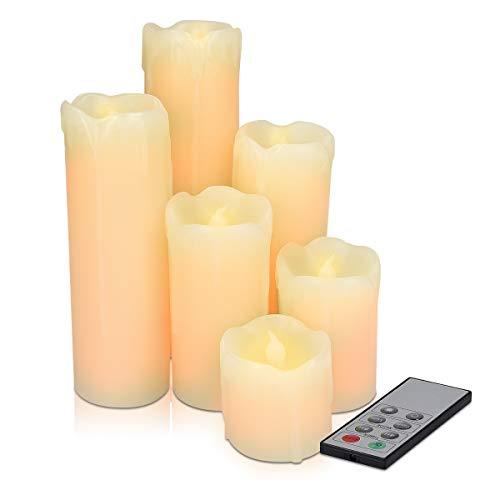 Navaris Set 6x Candele in Cera a LED - con Telecomando Timer e Dimmer - Candela Pilastro a Batteria - Decorazione Casa - Bianco Caldo Tremolante