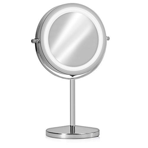 Navaris Specchio da Trucco con Luce LED - Specchio Illuminato con Ingrandimento x7 - Specchietto Cosmetico Ingrandente - Luci 26lm Rotazione 360°